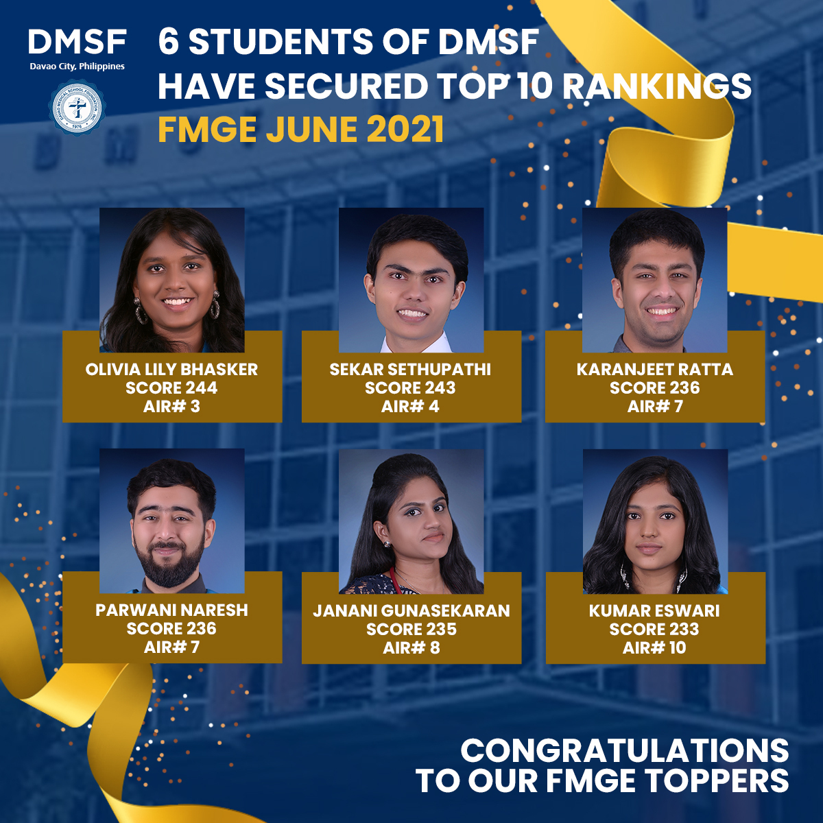 DMSF's six toppers at FMGE June 2021